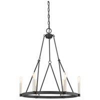 Doran 6 Light 23 inch Mottled Black Chandelier Ceiling Light