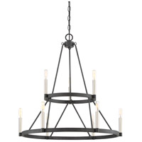 Doran 9 Light 28 inch Mottled Black Chandelier Ceiling Light