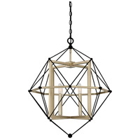 Division 4 Light 24 inch Earth Black Cage Pendant Ceiling Light