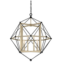 Division 8 Light 30 inch Earth Black Cage Pendant Ceiling Light