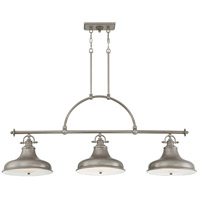 Emery 3 Light 53 inch Distressed Nickel Island Chandelier Ceiling Light