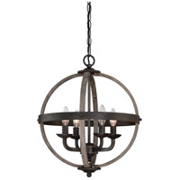 Fusion 4 Light 17 inch Rustic Black Foyer Piece Ceiling Light, Naturals