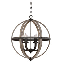 Fusion 6 Light 25 inch Rustic Black Foyer Piece Ceiling Light, Naturals