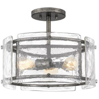 Quoizel FTS1716MM Fortress 3 Light 16 inch Mottled Silver Semi-Flush Mount Ceiling Light