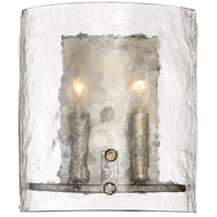 Fortress 2 Light 9 inch Mottled Silver Wall Sconce Wall Light