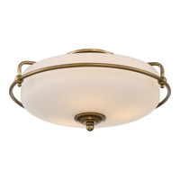 Quoizel Griffin 3 Light Flush Mount in Weathered Brass GF1617WS