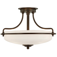 Griffin 3 Light 17 inch Palladian Bronze Semi-Flush Mount Ceiling Light