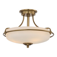 Quoizel Griffin 3 Light Semi-Flush Mount in Weathered Brass GF1717WS