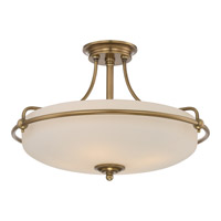 Quoizel Griffin 4 Light Semi-Flush Mount in Weathered Brass GF1721WS