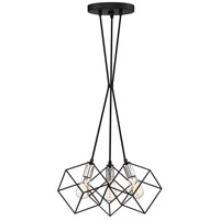 Holograph 3 Light 14 inch Earth Black Pendant Ceiling Light