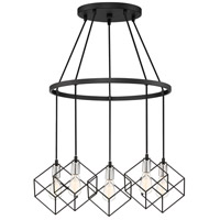 Holograph 5 Light 25 inch Earth Black Chandelier Ceiling Light