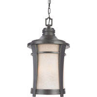 Harmony 3 Light 11 inch Imperial Bronze Outdoor Hanging Lantern in Cream Linen Glass