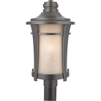 Harmony 3 Light 21 inch Imperial Bronze Outdoor Post Lantern in Standard, Cream Linen Glass