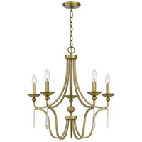Quoizel JOU5025AB Joules 5 Light 25 inch Aged Brass Chandelier Ceiling Light