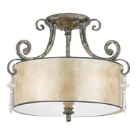Kendra 3 Light 16 inch Mottled Silver Semi-Flush Mount Ceiling Light, Naturals