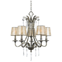 Kendra 5 Light 27 inch Mottled Silver Chandelier Ceiling Light, Naturals