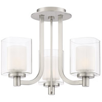 Kolt 3 Light 15 inch Brushed Nickel Semi-Flush Mount Ceiling Light