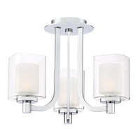 Kolt 3 Light 15 inch Polished Chrome Semi-Flush Mount Ceiling Light