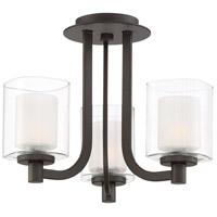 Kolt 3 Light 15 inch Western Bronze Semi-Flush Mount Ceiling Light