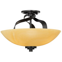 Kyle 3 Light 16 inch Imperial Bronze Semi-Flush Mount Ceiling Light, Naturals