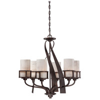 Kyle 6 Light 28 inch Iron Gate Chandelier Ceiling Light in White Onyx Shade