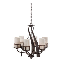 Quoizel KY5006IN Kyle 6 Light 28 inch Iron Gate Chandelier Ceiling Light in White Onyx Shade alternative photo thumbnail