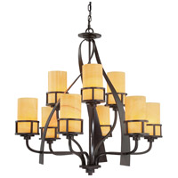 Quoizel KY5009IB Kyle 9 Light 35 inch Imperial Bronze Chandelier Ceiling Light in Butterscotch Onyx Shade, Naturals