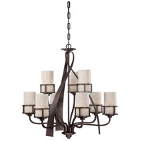 Kyle 9 Light 35 inch Iron Gate Chandelier Ceiling Light in White Onyx Shade, Naturals