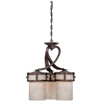 Kyle 3 Light 20 inch Iron Gate Chandelier Ceiling Light in White Onyx Shade