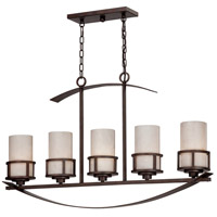 Kyle 5 Light 40 inch Iron Gate Island Light Ceiling Light in White Onyx Shade