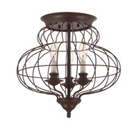 Laila 3 Light 15 inch Rustic Antique Bronze Flush Mount Ceiling Light