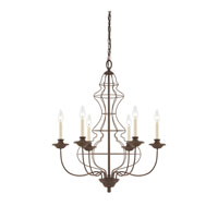 Quoizel Lighting Laila 6 Light Chandelier in Rustic Antique Bronze LLA5006RA