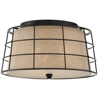 Landings 3 Light 16 inch Mottled Cocoa Flush Mount Ceiling Light