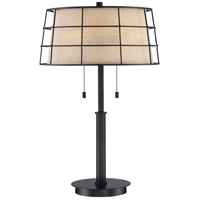 Quoizel Landings 2 Light Table Lamp in Mottled Cocoa LND6326MC