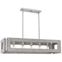 Quoizel LNY538BN Lonny 5 Light 38 inch Brushed Nickel Linear Chandelier Ceiling Light