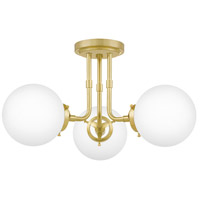 Quoizel LRY1720Y Landry 3 Light 21 inch Satin Brass Semi-Flush Mount Ceiling Light