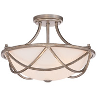 Milbank 3 Light 16 inch Vintage Gold Semi-Flush Mount Ceiling Light