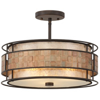 Laguna 3 Light 16 inch Renaissance Copper Semi-Flush Mount Ceiling Light, Naturals