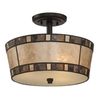 Kingsford 3 Light 15 inch Teco Marrone Semi-Flush Mount Ceiling Light