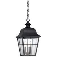 Quoizel MHE1910K Millhouse 3 Light 10 inch Mystic Black Outdoor Hanging Lantern in Frosted Halogen G9