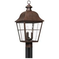 Quoizel MHE9010CU Millhouse 3 Light 22 inch Copper Bronze Outdoor Post Lantern, Large