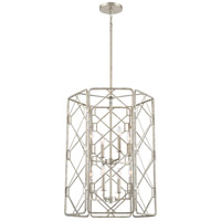 Mission 8 Light 22 inch Rubbed Silver Foyer Chandelier Ceiling Light