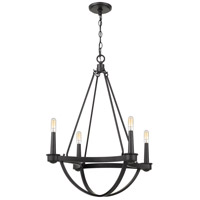 Mooring 4 Light 25 inch Earth Black Chandelier Ceiling Light