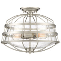 Maritime 3 Light 16 inch Brushed Nickel Semi-Flush Mount Ceiling Light