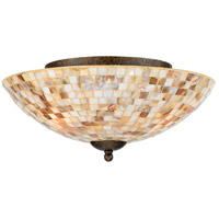 Monterey Mosaic 3 Light 16 inch Malaga Flush Mount Ceiling Light, Naturals