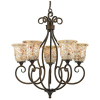Monterey Mosaic 5 Light 26 inch Malaga Chandelier Ceiling Light, Naturals