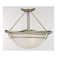 Quoizel Lighting New England 3 Light Semi-Flush Mount in Brushed Nickel NA1716BN