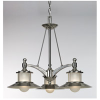 New England 3 Light 25 inch Brushed Nickel Dinette Chandelier Ceiling Light