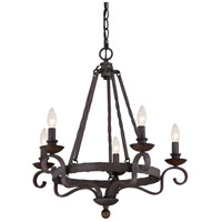 Quoizel NBE5005RK Noble 5 Light 24 inch Rustic Black Chandelier Ceiling Light alternative photo thumbnail