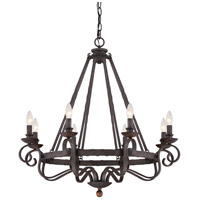 Noble 8 Light 32 inch Rustic Black Chandelier Ceiling Light